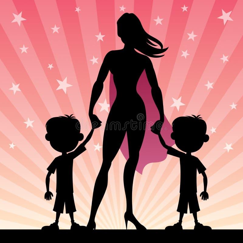 Super mama Z Bliźniaczymi chłopiec royalty ilustracja