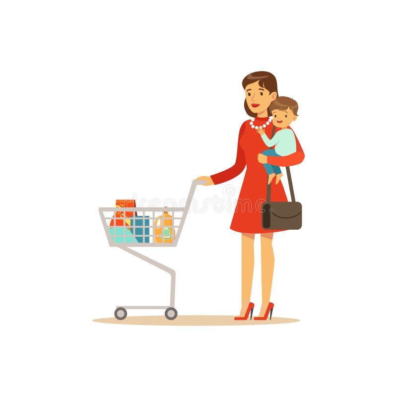 Super mama z dzieckiem i wózek na zakupy royalty ilustracja
