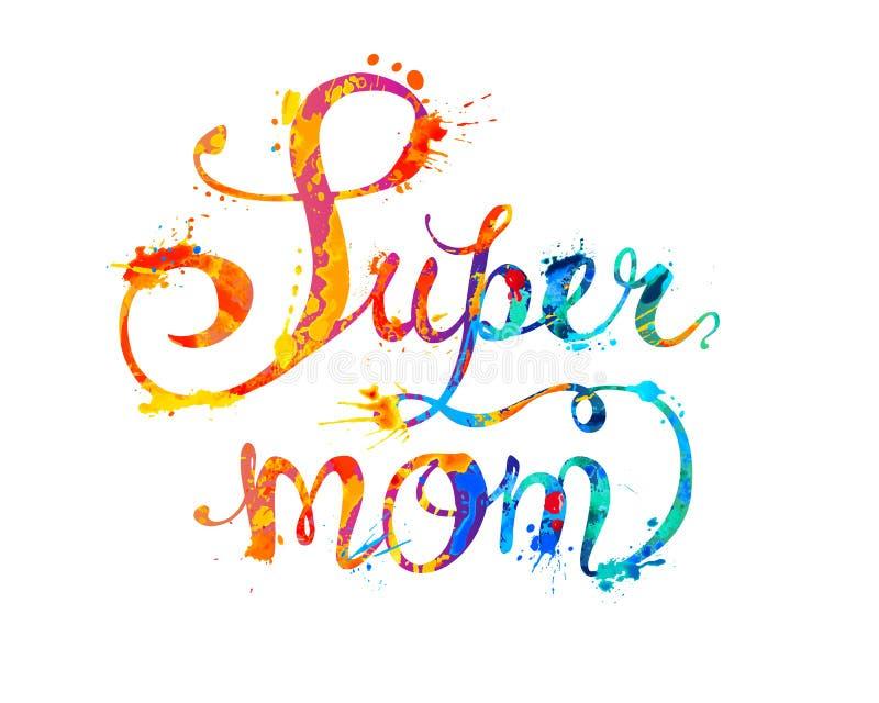 Super Mamma Hand geschreven woorden van plonsverf vector illustratie