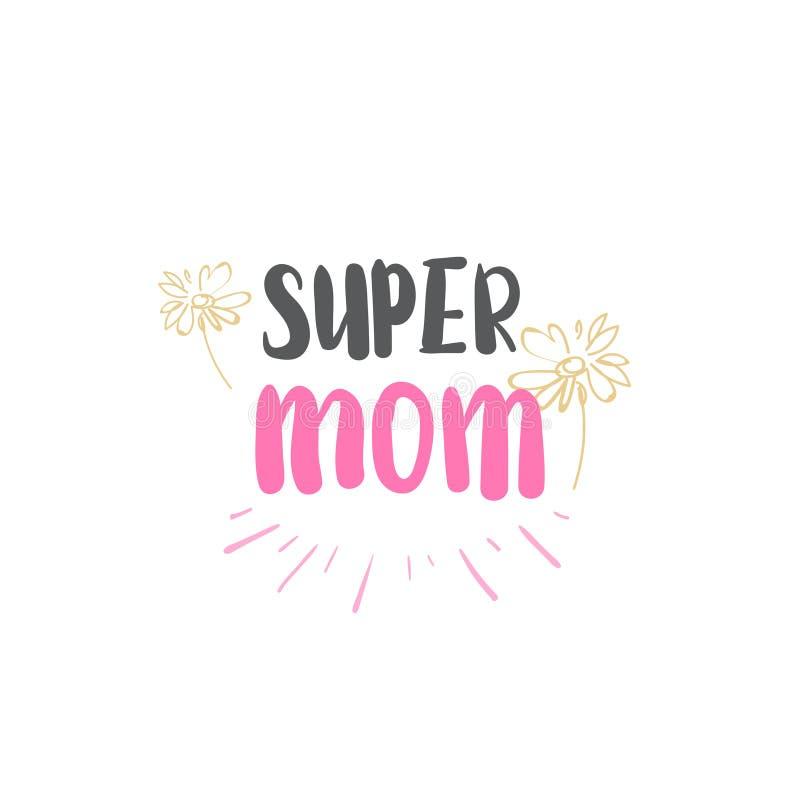 Super Mammaembleem Geïsoleerde Van letters voorziende Moeders Dag Logo Design stock illustratie