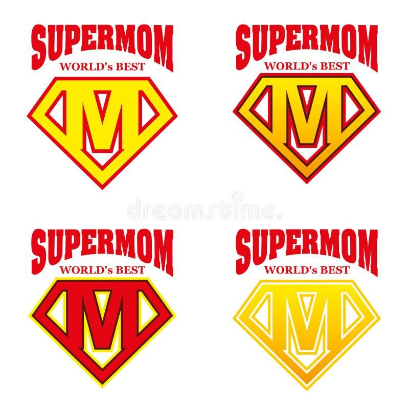 Super Mammaheld Logo Supehero Letters royalty-vrije illustratie