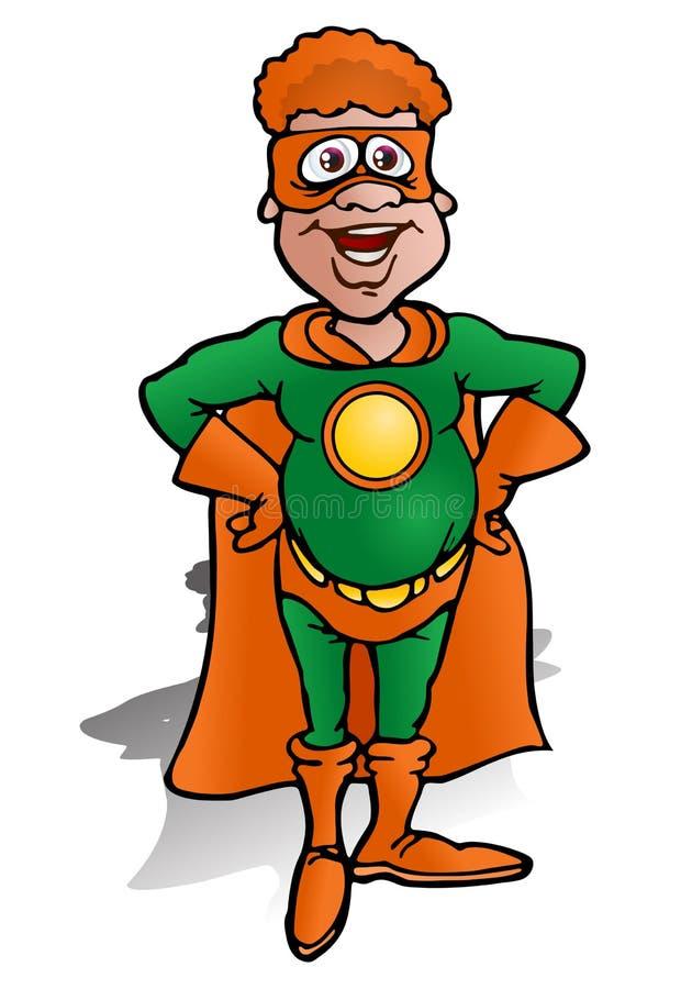 Super man. Illustration of a green echo super hero defending earth on white background royalty free illustration