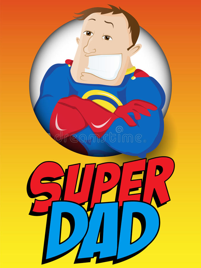 Free Super Man Hero Dad. Happy Father Day Royalty Free Stock Photo - 41019005
