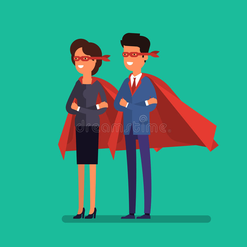 Super man and woman. Business concept illustration. vector illustration
