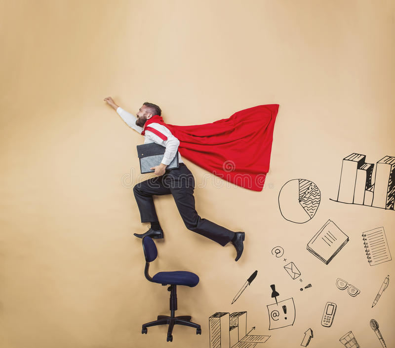 Super manager. Manager with coat of superman. Superhero in studio vector illustration