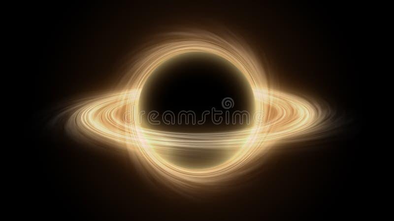 Super massief zwart gat in kosmische ruimte, zwarte gat van de computer het grafische simulatie royalty-vrije illustratie