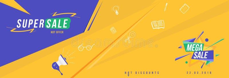 Super Mega- Verkauf und heißer Rabatt Horizontale Fahnenschablone für Designwerbung und -plakat Flache Vektorillustration ENV 10 vektor abbildung