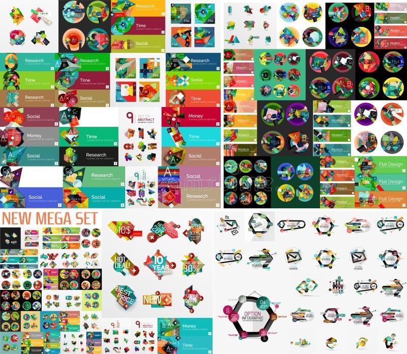 Super megareeks van abstract geometrisch grafisch document vector illustratie