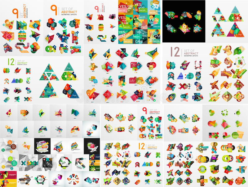 Super megareeks van abstract geometrisch grafisch document stock illustratie