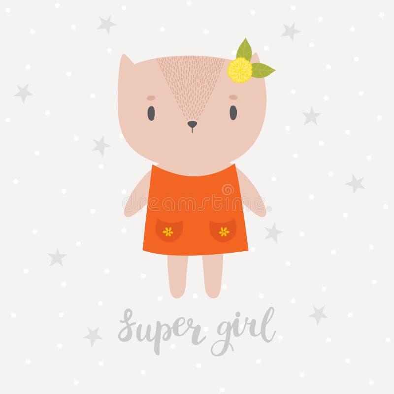 Super meisje Leuk weinig pot Groetkaart of prentbriefkaar Mooie kat met bloem stock illustratie