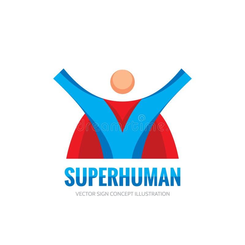 Super menselijk karakter - het vectorconcept van het bedrijfsembleemmalplaatje in vlakke stijl Het creatieve teken van de mensenh stock illustratie
