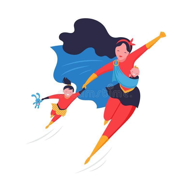 Super Mom. Flying superhero mother carrying a baby. Vector illustration vector illustration