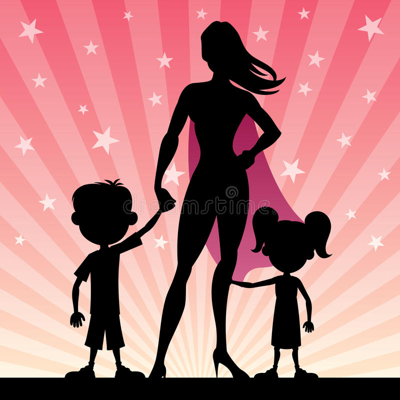 Super Mom. With her kids. No transparency used. Basic (linear) gradients