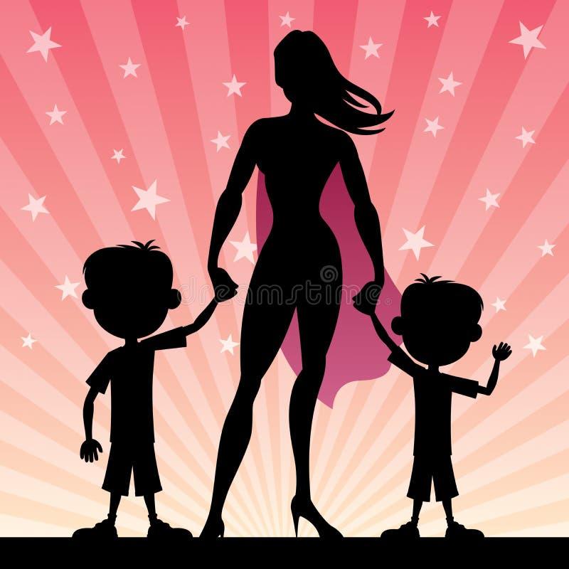 Super Mom 2 Sons stock illustration