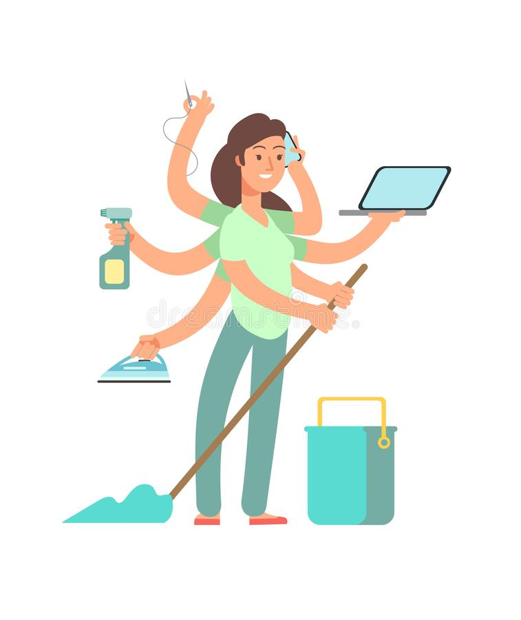 Super mom vector concept. Stressed mother in business and housework activities royalty free illustration