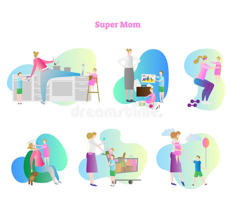 Super mom vector illustration collection set. Busy mom with kids and children. Household activities like cooking and shopping. vector illustration