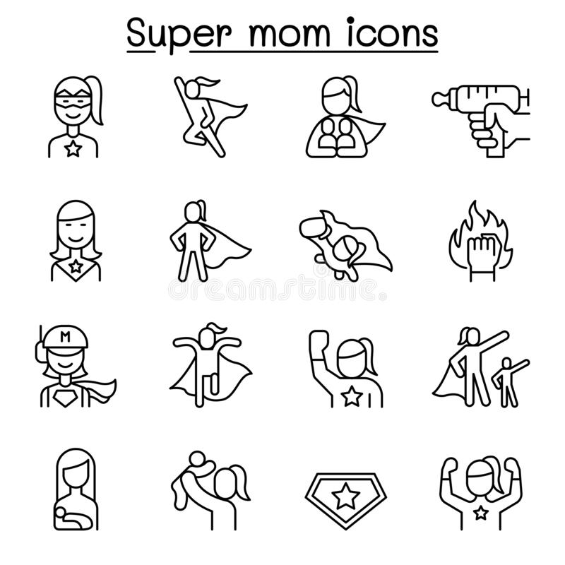 Super mom, super woman, Hero icon set in thin line style royalty free illustration