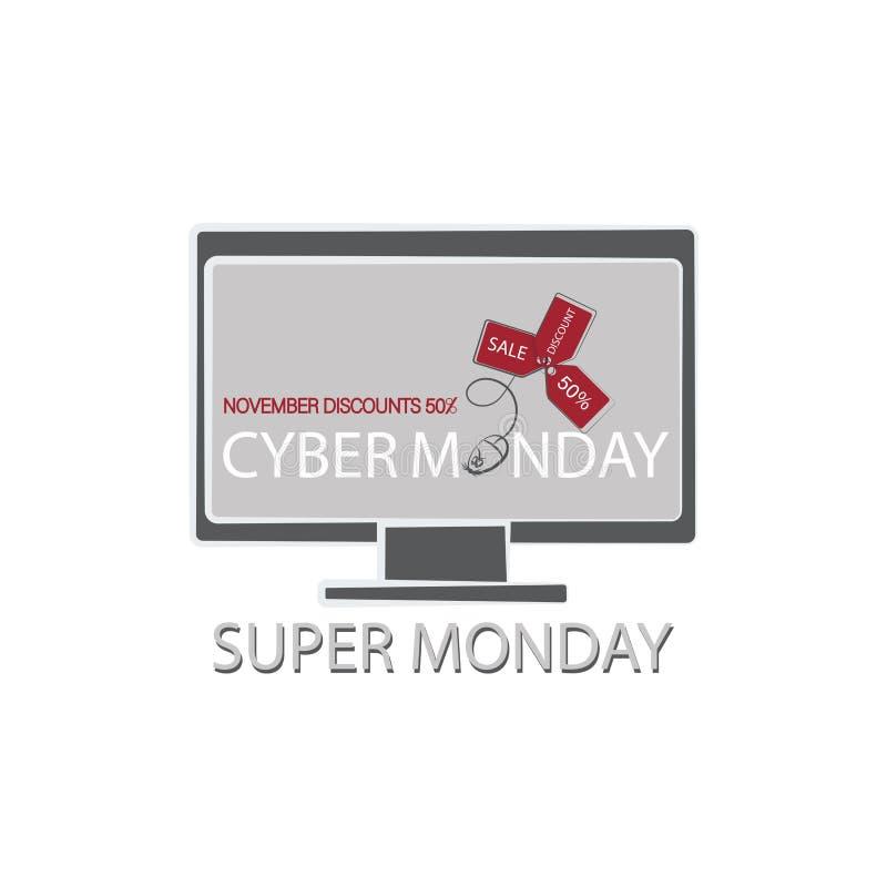 SUPER-MONTAG Monitor, Computermaus mit Verkaufsaufklebern und Text Cyber Montag vektor abbildung