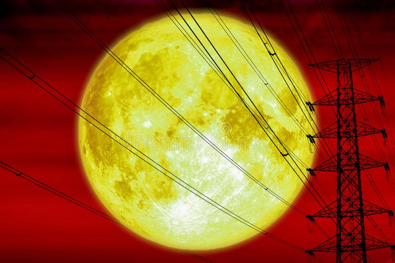 Super moon back silhouette power electric pole and electric line sky. Elements of this image furnished by NASA stock images