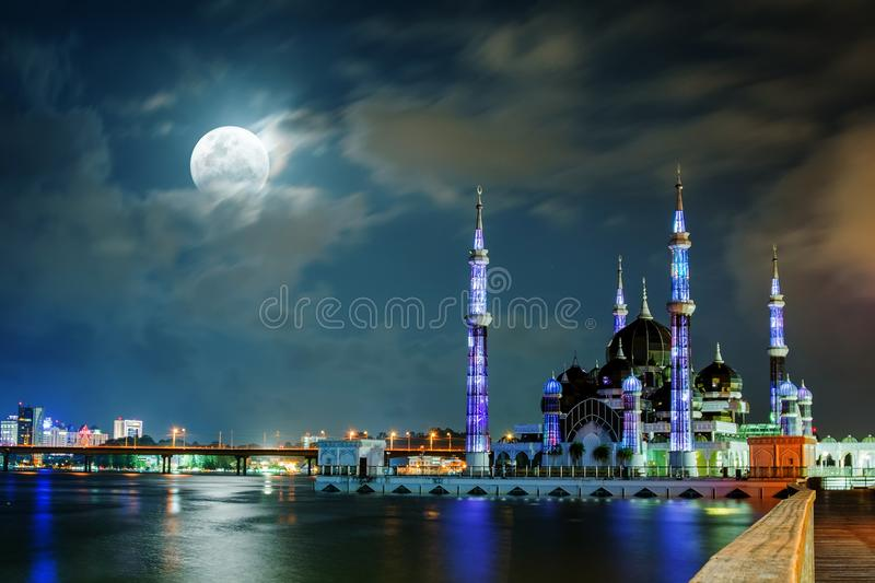 Super moon half eclipse detailed blue moon 2018. Supermoon, Bluemoon and Total Eclipse full moon at Crystal Mosque Malaysia January 31, 2018 royalty free stock photography