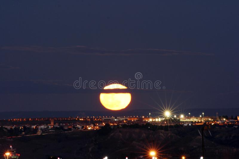 Super moon in Madrid royalty free stock photography