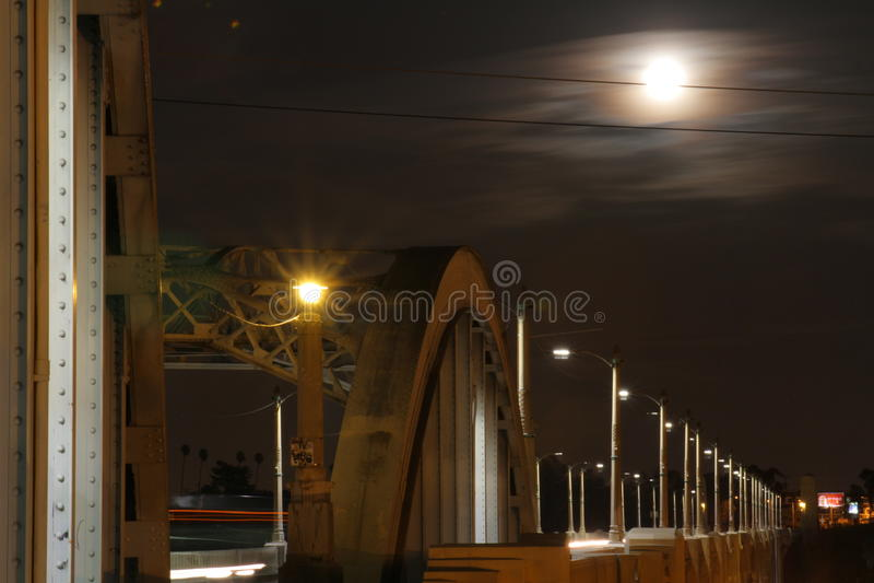 Super Moon over Bridge #3 royalty free stock photo