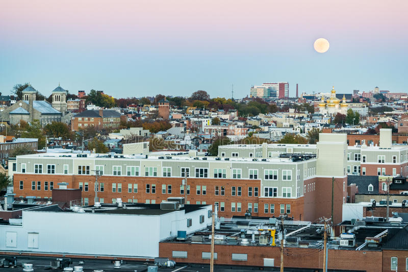 Super Moon and Sunset over an Aerial shot from North Fells Point. In Baltimore, Maryland royalty free stock images