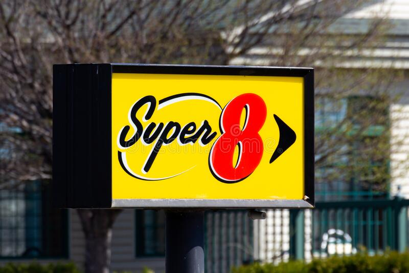 Super 8 Motel Exterior Sign and Trademark Logo stock photos
