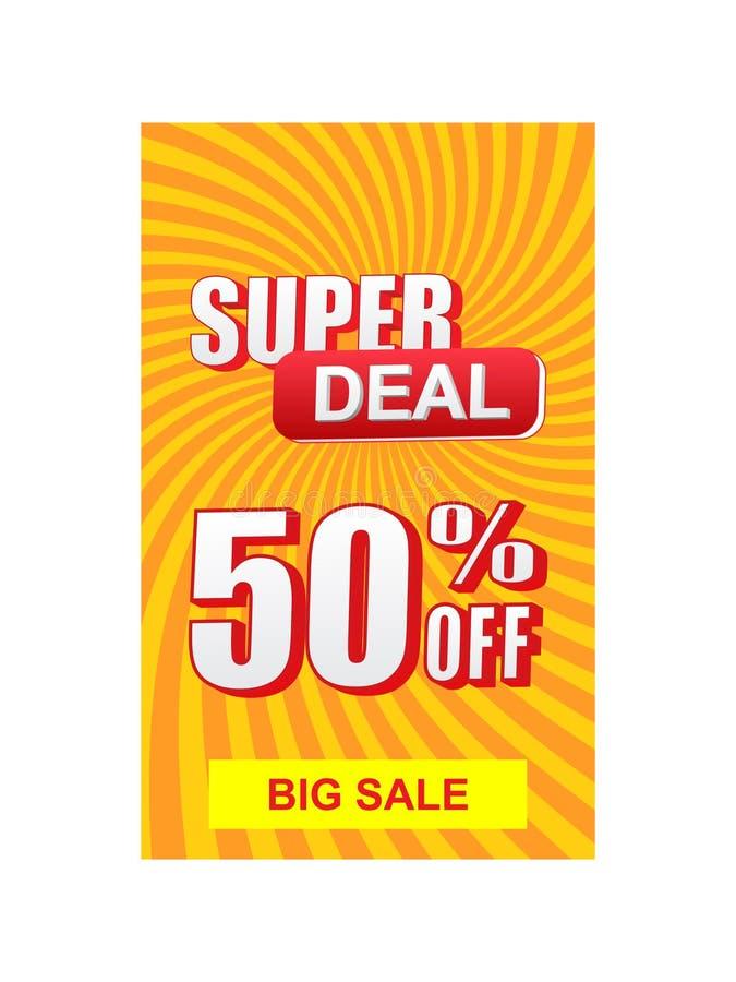 Super overeenkomst 50 percenten van korting en grote verkoopbanner stock illustratie