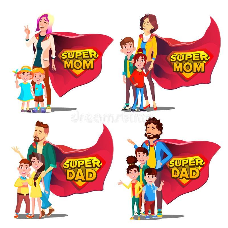 Super Papa, Mammavector Moeder en Vader Like Super Hero met Kinderen Schildkenteken Geïsoleerd Vlak Beeldverhaal Illudtration royalty-vrije illustratie