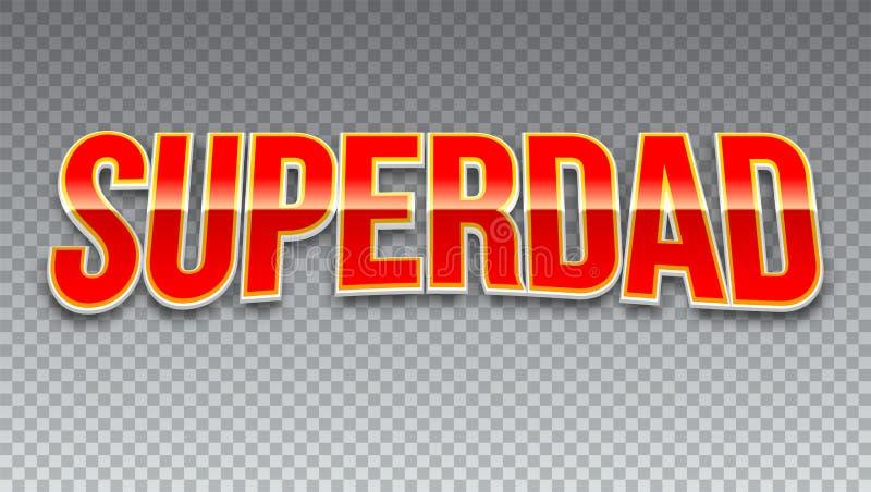 Super papa, rode glanzende tekst op horizontale transparante achtergrond Super heldentypografie voor t-shirtgrafiek of sportemble royalty-vrije illustratie