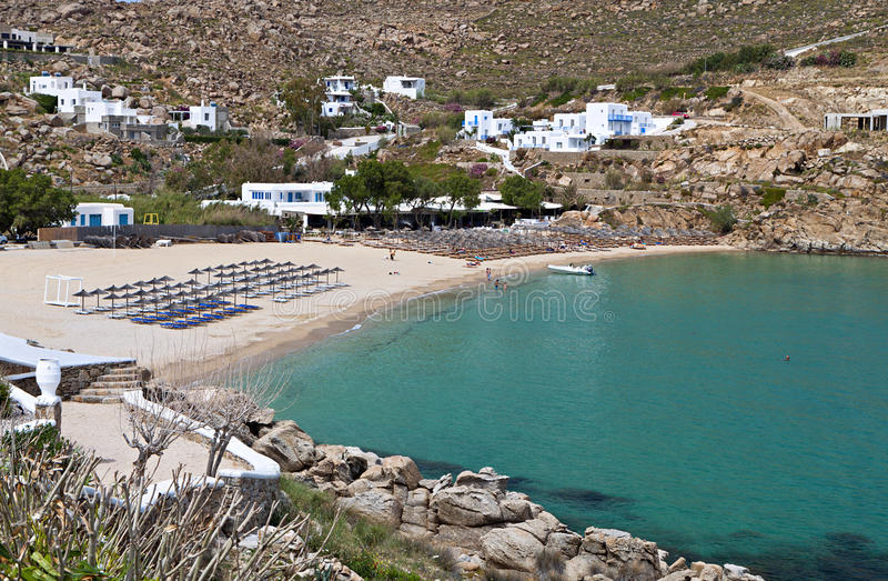 Super Paradise Beach At Mykonos Royalty Free Stock Photo
