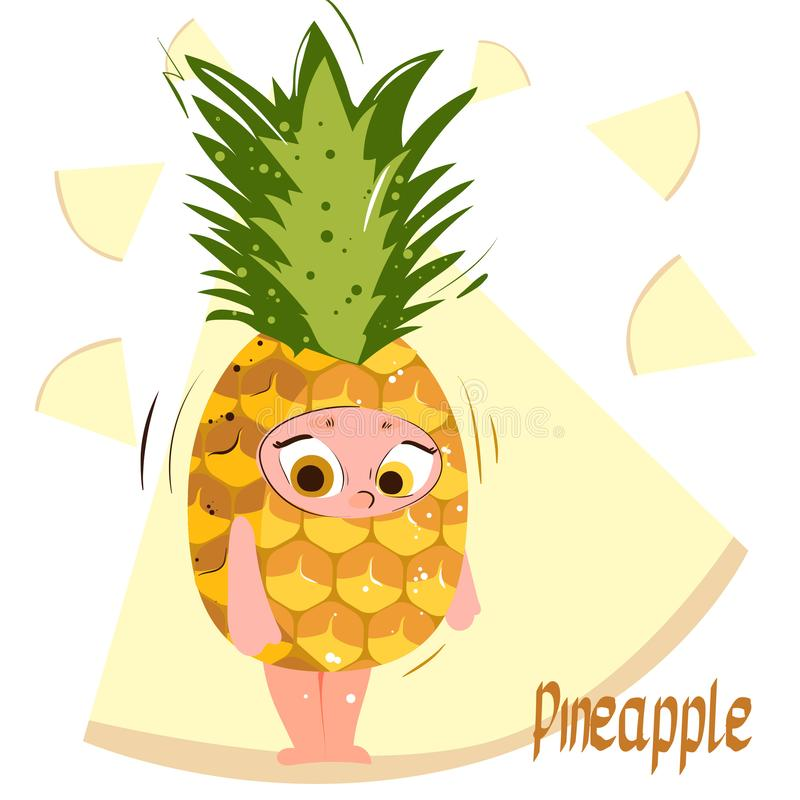 Super Pineapple. Fresh juicy cartoon character pineapple. royalty free stock images