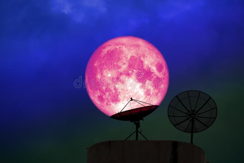 super pink moon back silhouette satellite disk night red cloud o royalty free stock images