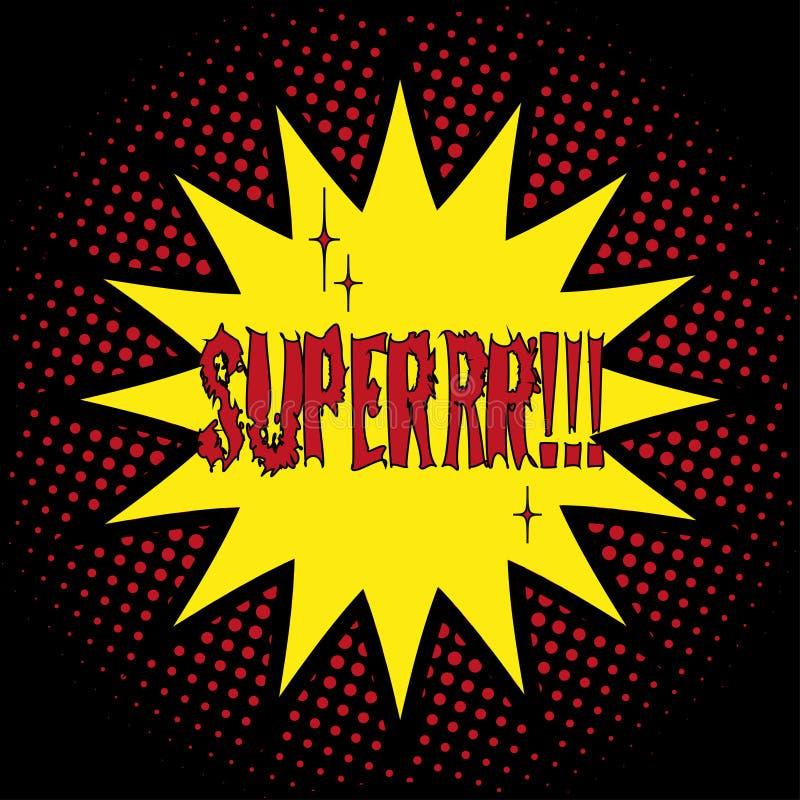 Super! pop-art het van letters voorzien Pictogram van vlakke stijl en halftone effect, brighte kleuren, zwarte achtergrond vector illustratie