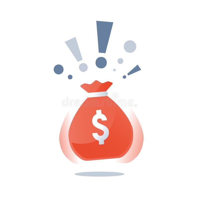 Money sack with dollars, super prize huge bag of cash, winning grand lottery, casino jackpot, large fund stock illustration
