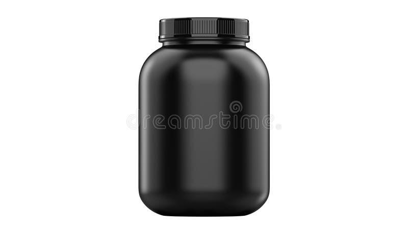 Super realistische 3d de voedingscontainer van de illustratiesport zonder etiket Weiproteïne en massagainer zwarte plastic kruik royalty-vrije illustratie