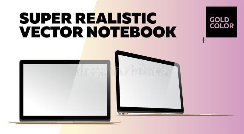 Super realistisches Vektor-Notizbuch mit leerem Bildschirm lizenzfreie abbildung