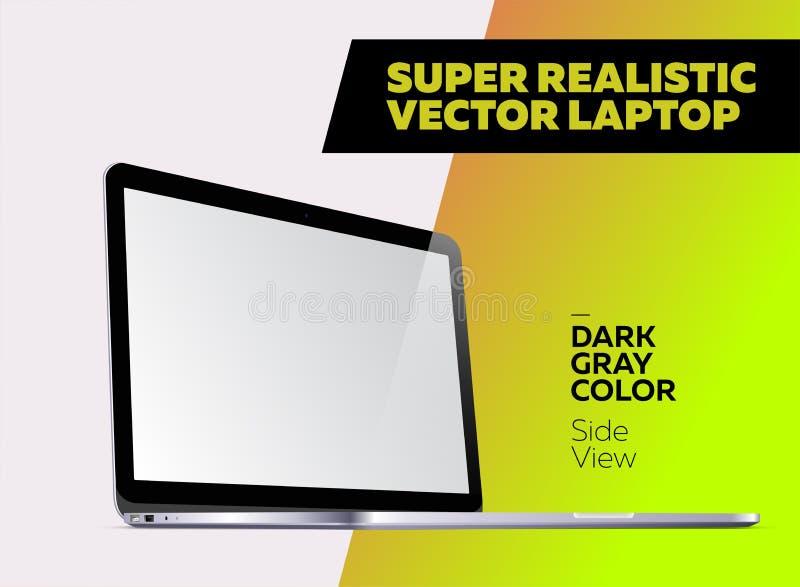 Super Realistyczna Wektorowa ilustracja Aluminiowy laptop ilustracji