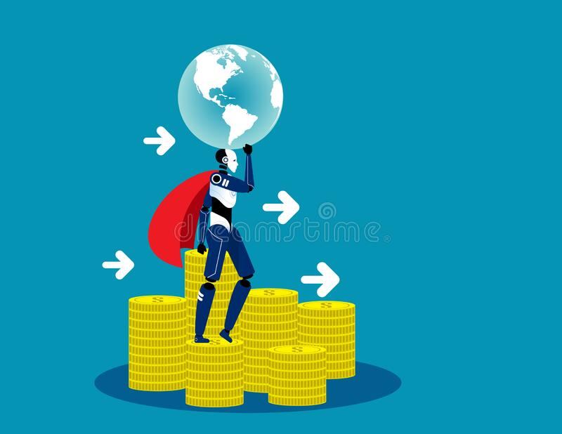 Super robot stand on money. Concept technology vector illustration, Financial, Finance and economy royalty free illustration