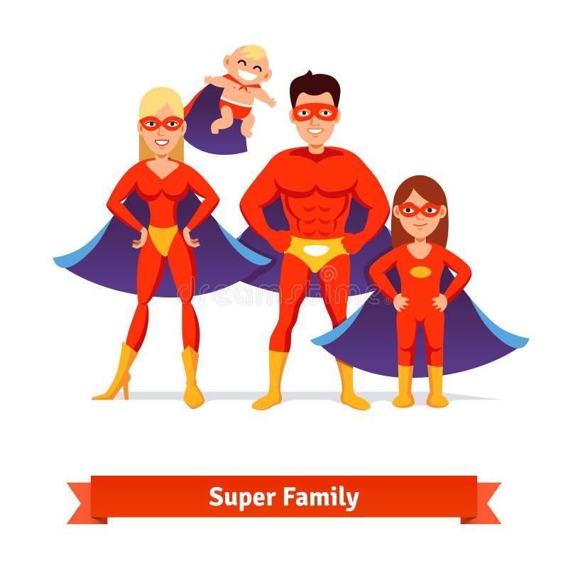Super rodzina Ojciec, matka, córka, dziecko ilustracja wektor
