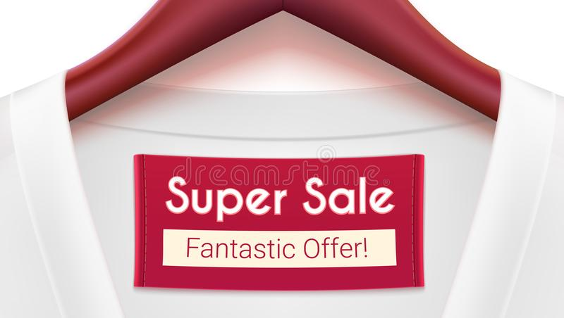 Super sale ad banner. Clothing with tag hanging on hangers. Creativity advertising with fantastic offer for your design vector illustration
