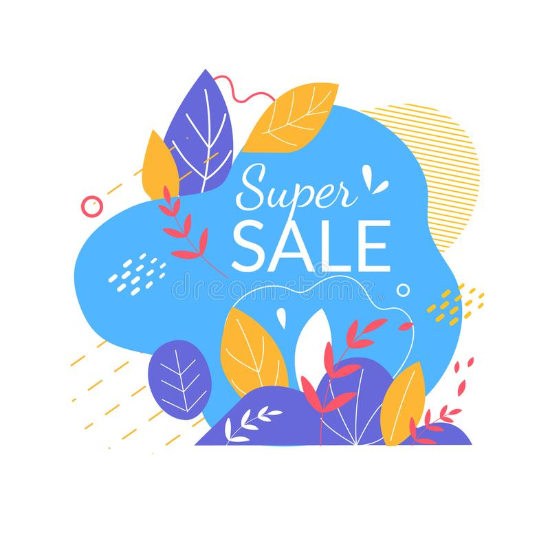 Super Sale Banner with Abstract Shapes, Leaves. Super Sale Offer for Buyers, Summertime Holiday Abstract Colorful Banner with Doodle Style Elements and Bright stock illustration