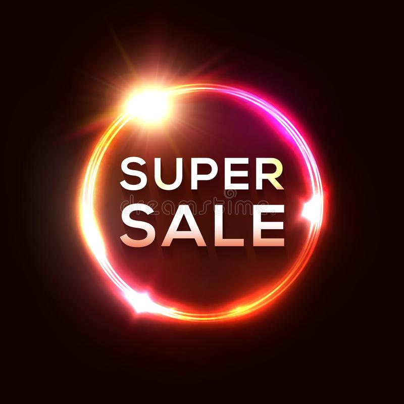 Super Sale banner. Electric glow circle neon sign. Super Sale banner. Electric glowing circle neon sign with shining star sparkle. Light tube background for stock illustration