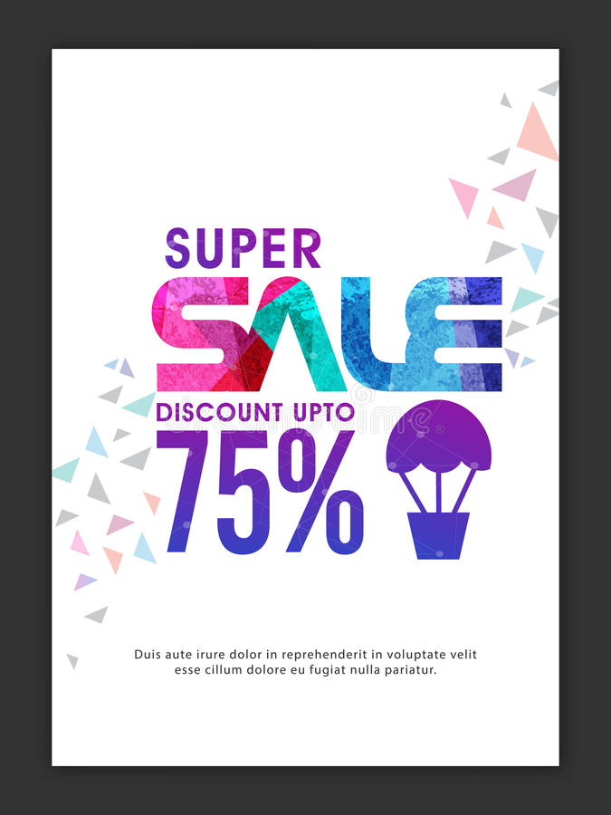 Super Sale Banner, Poster or Flyer design. stock illustration