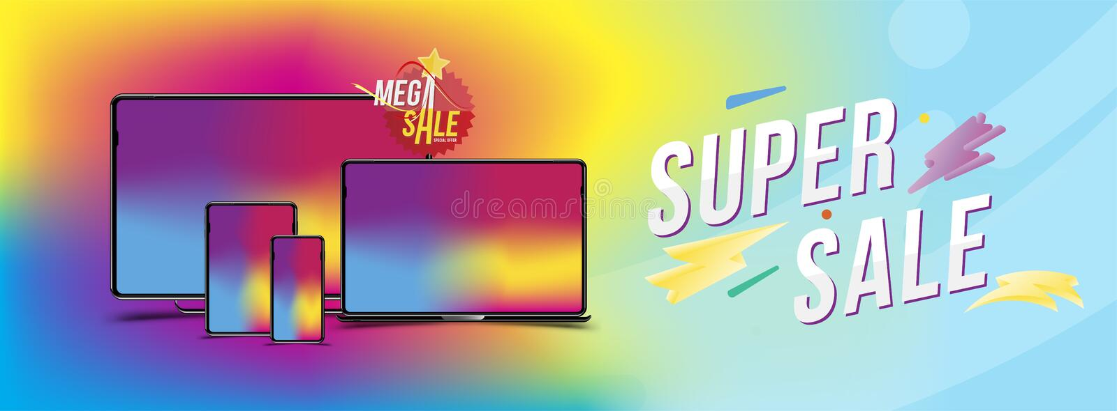 Super Sale Banner with set of realistic devices - smartphone, tablet, laptop and computer on the colour background. Sticker mega s. Ale and light effect. Flat vector illustration