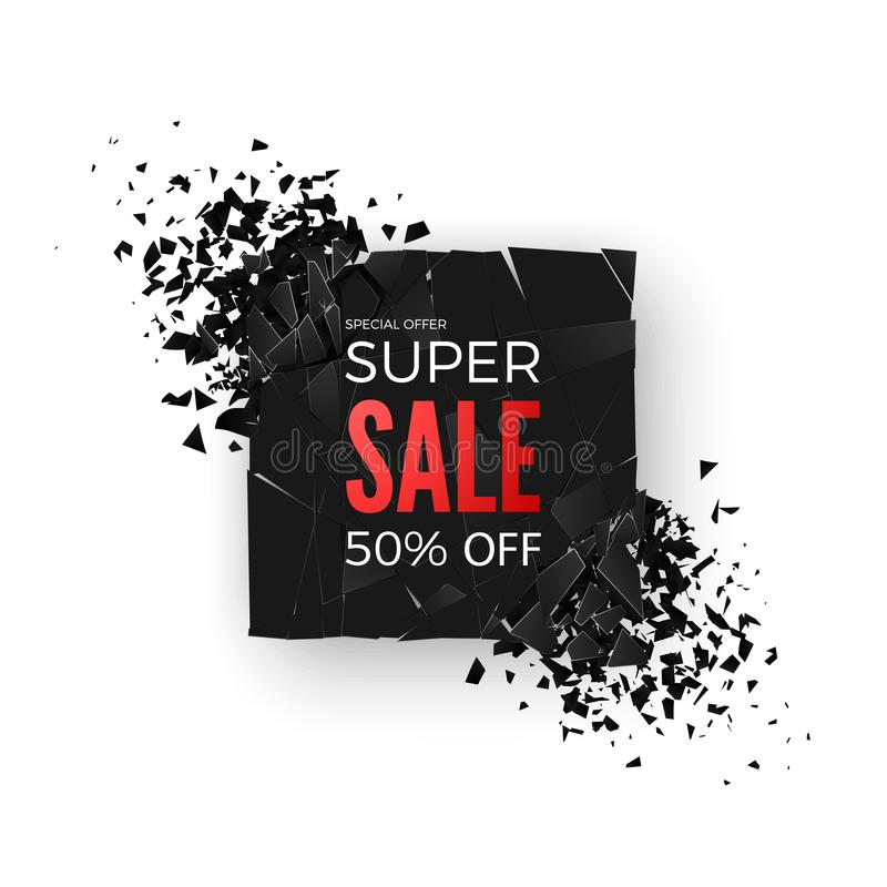Super Sale Banner - 50% special offer. Layout with abstract explosion effect elements. Design concept. Vector stock illustration