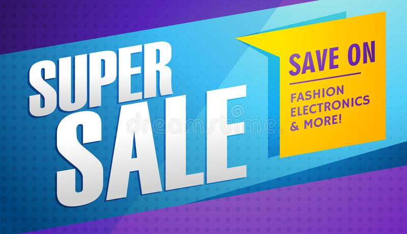 Super sale banner template stock illustration