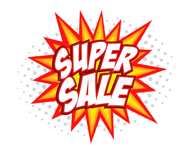 Super sale comic splash royalty free illustration
