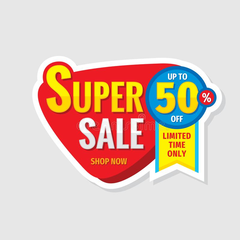 Super sale concept banner. Promotion poster. Discount up to 50% off creative sticker emblem. Special offer label. Limited time onl vector illustration